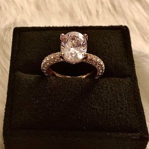 Jewelry - Yellow Gold Toned Sterling Halo Ring